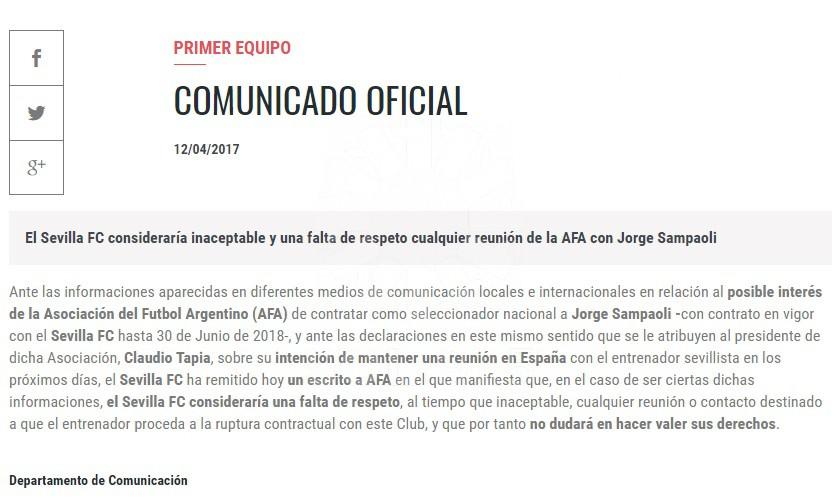 comunicado de Sevilla